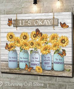 It's Okay to make mistakes to have bad days to be less than perfect to do what's best for you to be yourself gallery wrapped canvas3