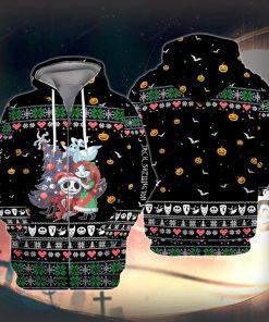 Jack Skellington and Sally Ugly Christmas 3D Print Hoodie