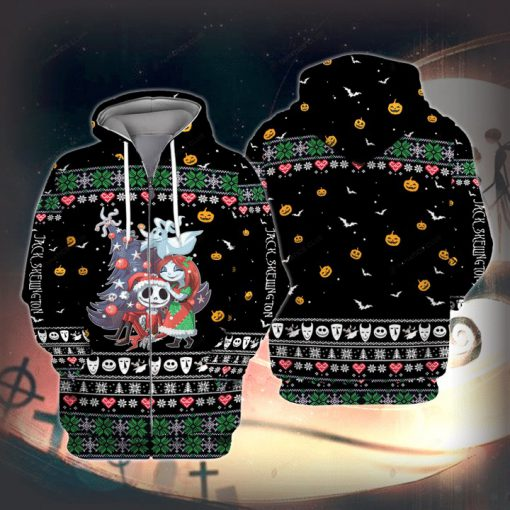 Jack Skellington and Sally Ugly Christmas 3D Print Hoodie1