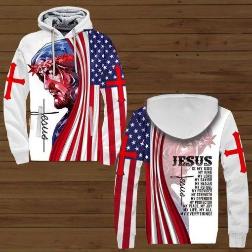 Jesus is my god my king my lord my savior my healer my refuge 3D all over print hoodie1