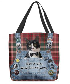 Just a girl who loves cats tote bag 2