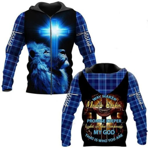 Lion Way maker miracle worker promise keeper Light in the darkness my god that is who you are 3D all over print hoodie1