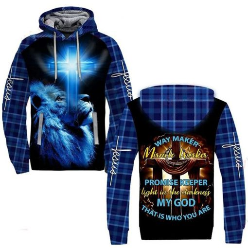 Lion Way maker miracle worker promise keeper Light in the darkness my god that is who you are 3D all over print hoodie2