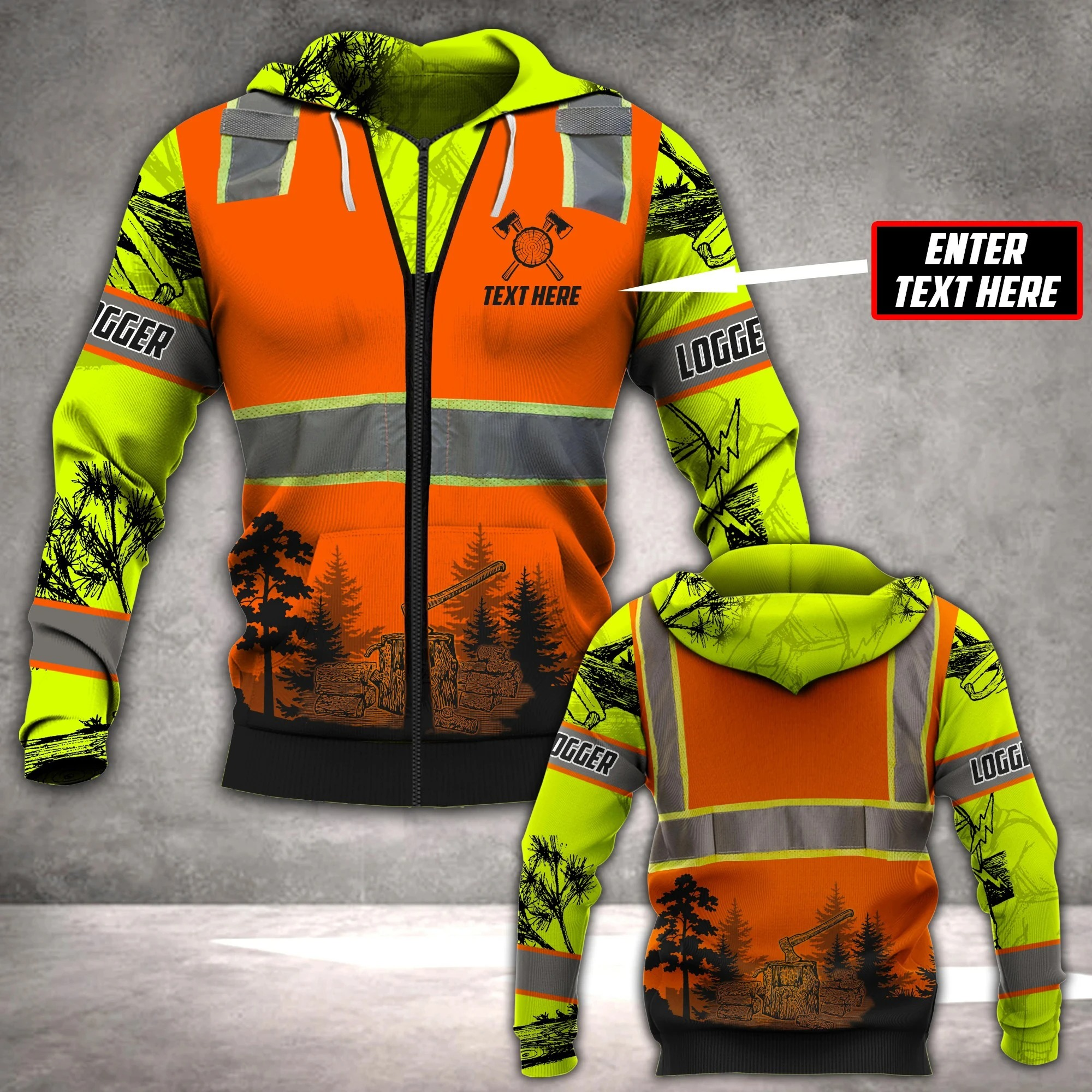 Logger Safety 3D all over printed hoodie 1