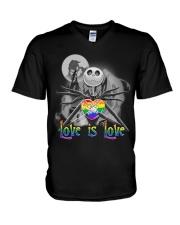 Love is love Jack Skellington Halloween LGBT v-neck