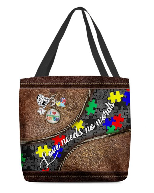 Love needs no words Autism as leather zipper tote bag 1