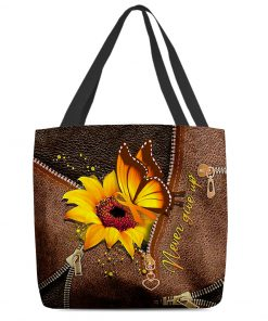 Never Give Up Sunflower Butterfly MS Awareness as leather zipper tote bag 0