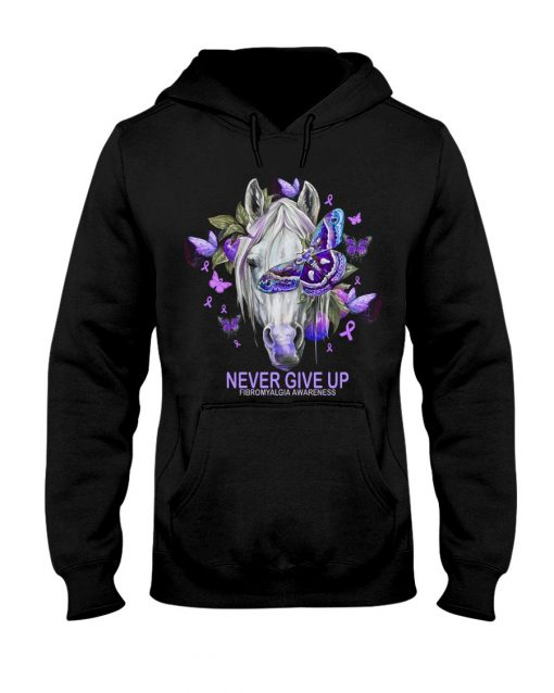 Never give up Fibromyalgia Awareness Horse Butterfly Hoodie