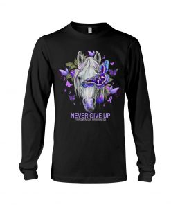 Never give up Fibromyalgia Awareness Horse Butterfly Long sleeve