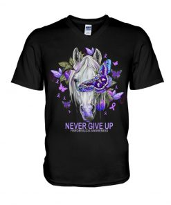 Never give up Fibromyalgia Awareness Horse Butterfly V-neck