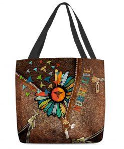 Nurse Life Daisy as leather zipper tote bag 1