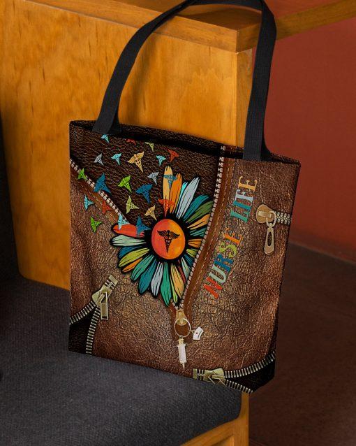 Nurse Life Daisy as leather zipper tote bag 3