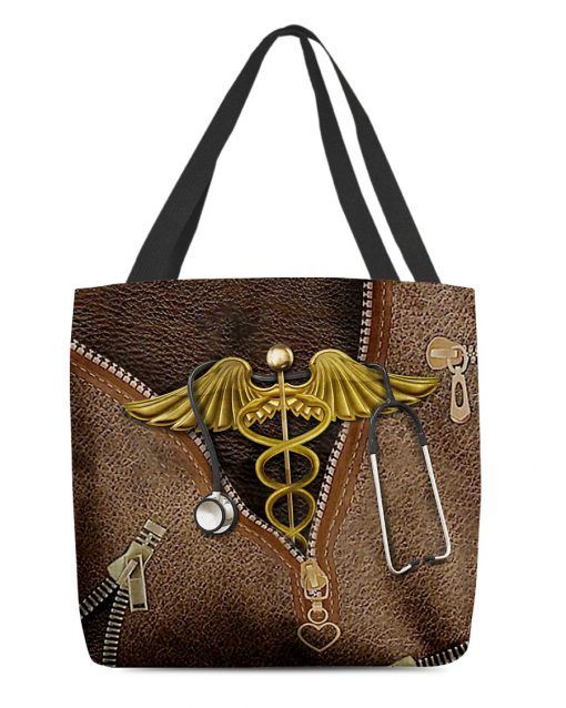 Nurse as leather zipper tote bag 1