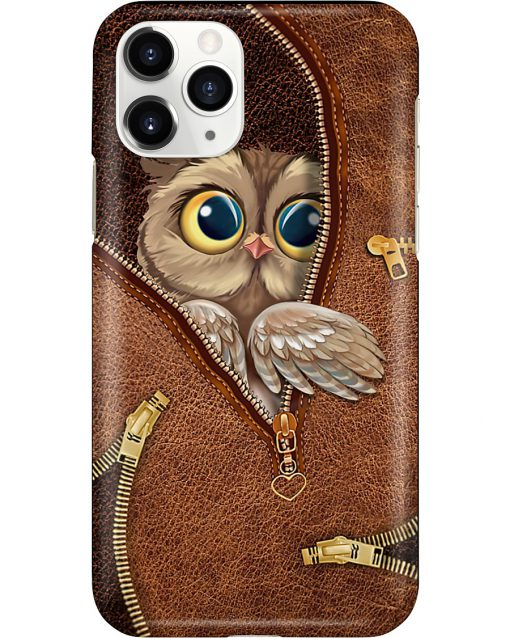 Owl as leather zipper phone case 11