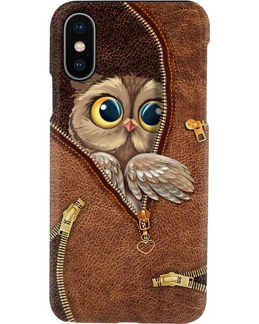 Owl as leather zipper phone case x