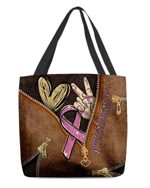 Peace love cure Pink Ribbon as leather zipper tote bag 1