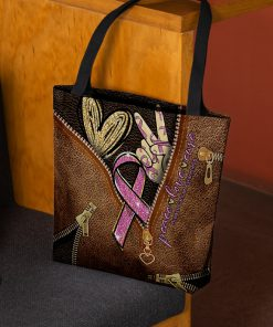 Peace love cure Pink Ribbon as leather zipper tote bag