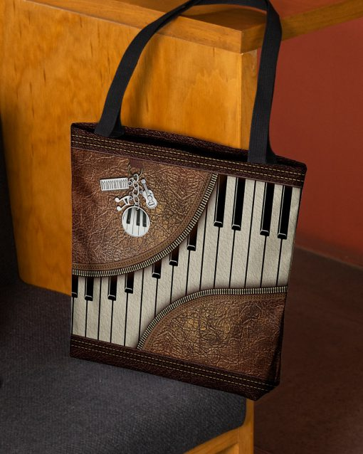 Piano Music as leather zipper tote bag 1