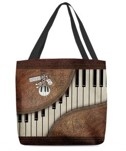 Piano Music as leather zipper tote bag