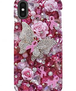 Pink Ribbon Butterfly Crystal Tassels phone case