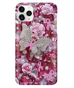 Pink Ribbon Butterfly Crystal Tassels phone case1