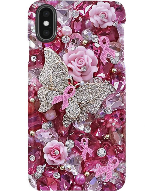 Pink Ribbon Butterfly Crystal Tassels phone case2