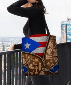 Puerto Rico Flag Symbol as leather zipper tote bag 1