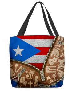 Puerto Rico Flag Symbol as leather zipper tote bag