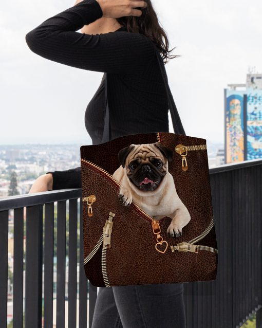 Pug as leather zipper tote bag 1