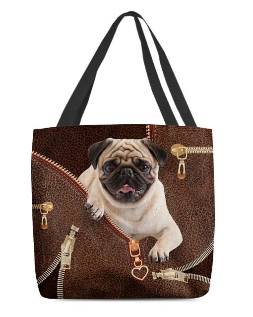 Pug as leather zipper tote bag 3
