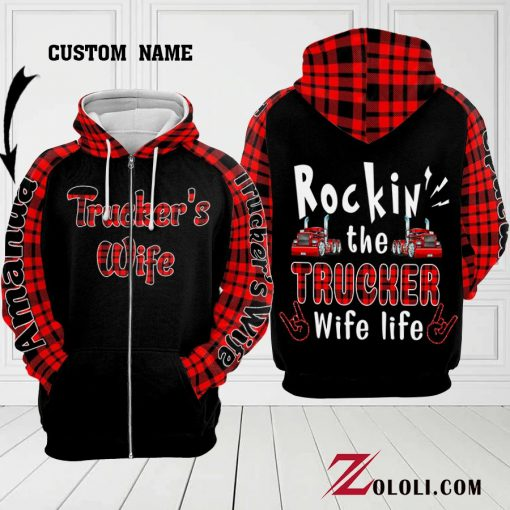 Rockin' the Trucker Wife life personalized 3D hoodie2