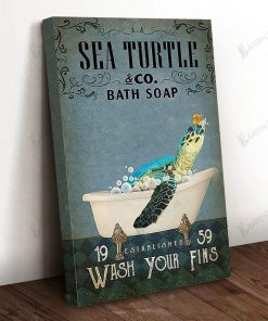 Sea Turtle Co Bath Soap Wash Your Fins Poster 1
