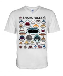 Shark Faces v-neck