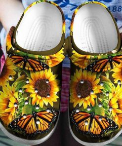 Sunflower Butterfly Crocs Crocband Clog