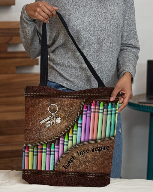 Teach love inspire as leather zipper tote bag 1