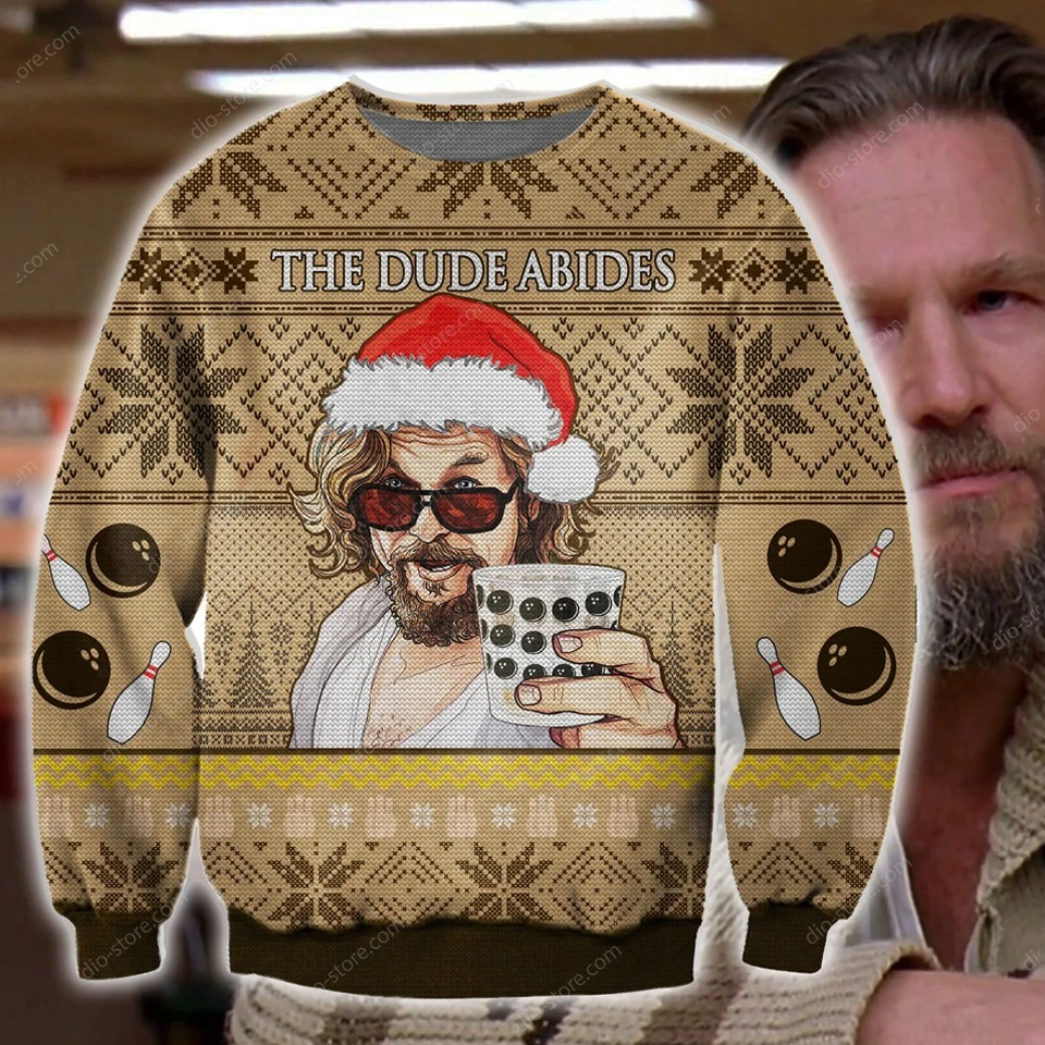 The Dude abides - The Big Lebowski 3D Ugly Christmas Sweater
