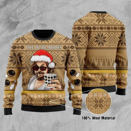 The Dude abides - The Big Lebowski 3D Ugly Christmas Sweater1