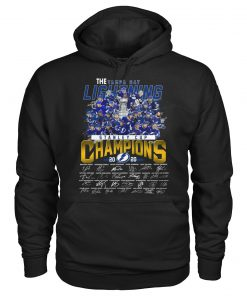 The Tampa Bay Lightning Stanley Cup Champions 2020 players signatures hoodie