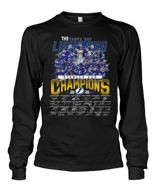 The Tampa Bay Lightning Stanley Cup Champions 2020 players signatures long sleeve