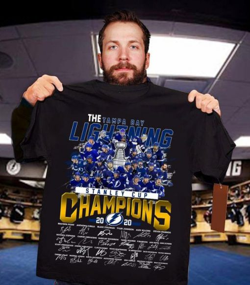 The Tampa Bay Lightning Stanley Cup Champions 2020 players signatures shirt 0