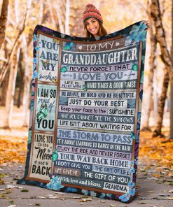 To my granddaughter Never forget that I love you life is filled with hard times and good time Butterfly fleece blanket3