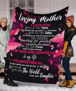 To my loving mother I love you for all the times you picked me up fleece blanket2