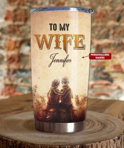 To my wife Our home ain't no castle Our life ain't no fairy tale but still you are my queen forever personalized tumbler 2
