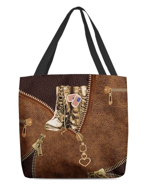 Veteran Boots as leather zipper tote bag