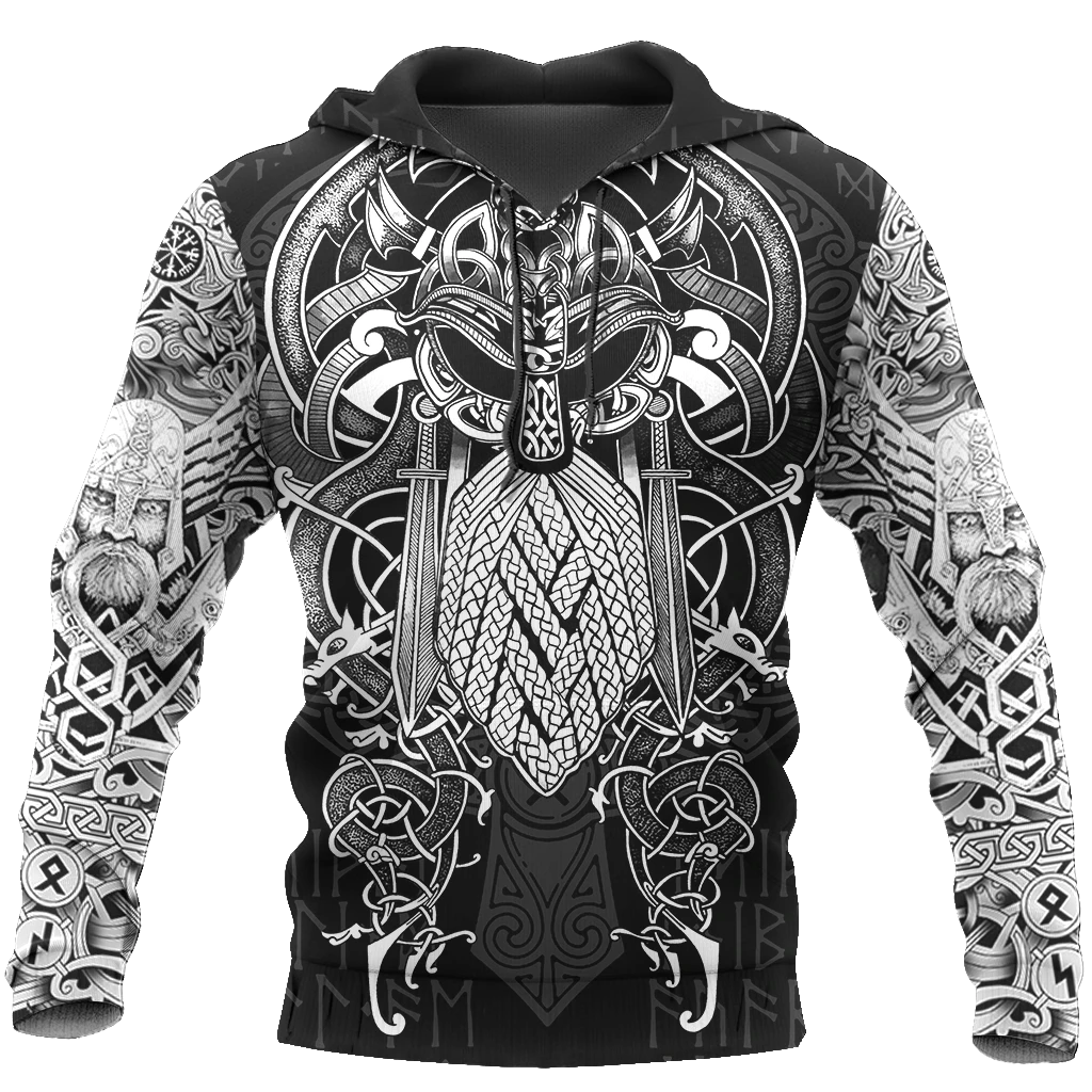 Vikings - Odin Tattoo Style 3D All Over Print Hoodie