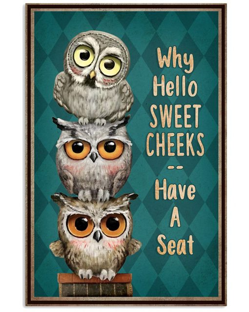 Why hello sweet cheeks have a seat Owl poster
