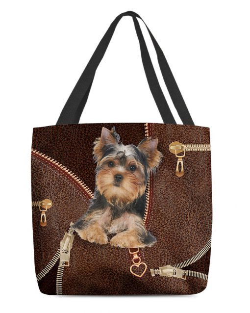 Yorkshire Terrier as leather zipper tote bag 1