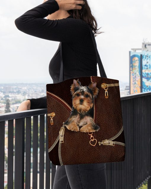 Yorkshire Terrier as leather zipper tote bag 2