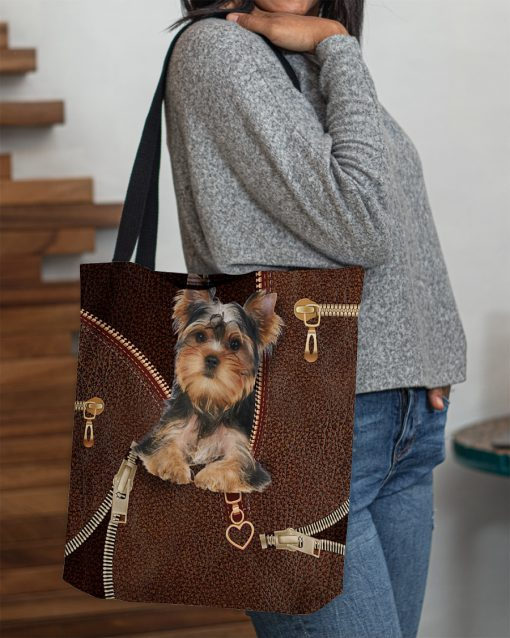 Yorkshire Terrier as leather zipper tote bag 3
