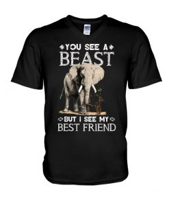 You see a beast but I see my best friend Elephant v-neck